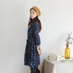 JUSTONE - Drawstring-Waist Floral Pattern Shirtdress