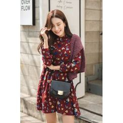 migunstyle - Mandarin-Collar Pattern Dress