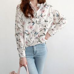 NIPONJJUYA - Long-Sleeve Floral Shirt