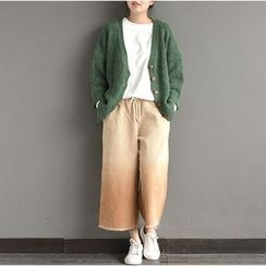Ranche - Gradient Cropped Wide Leg Corduroy Pants