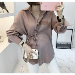 Miamasvin - Tie-Waist Hidden-Button Blouse