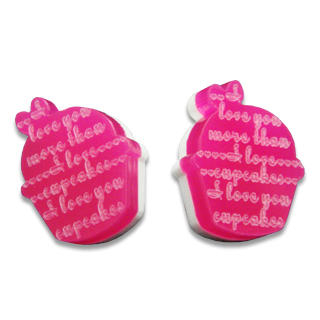 Sweet & Co. - I Love Cupcakes Mirror Fuchsia Stud Earrings