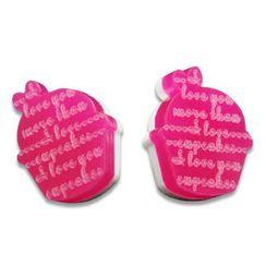 Sweet & Co. - I Love Cupcakes Mirror Fuchsia Stud Earrings