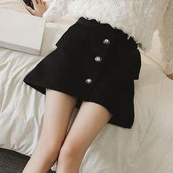Reis - Buttoned A-Line Mini Skirt