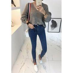 Miamasvin - Slit-Hem Washed Skinny Jeans