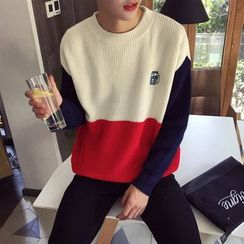 Breeson - Embroidered Color Block Sweater