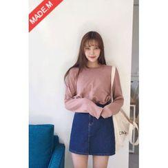MICHYEORA - A-Line Denim Mini Skirt