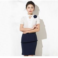 Aision - Keyhole-Front Shirt / Pencil Skirt