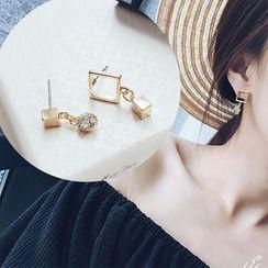 Taimi - Rhinestone Non-Matching Earrings