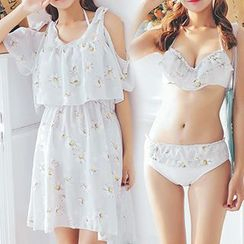 DJ Design - Set : Floral Print Bikini + Cover-up