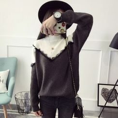 FR - Lace Trim Two Tone Mock Neck Sweater