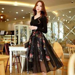 Dabuwawa - Tulle Overlay Floral Midi Skirt