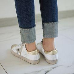 JUSTONE - Cuff-Hem Washed Skinny Jeans