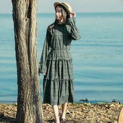 Sens Collection - Plaid Tiered Long Sleeve Midi Dress