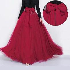 Fashion Street - Ribbon Mesh Maxi Skirt