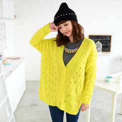 59 Seconds - Wool-Blend Oversized Open-Knit Cardigan