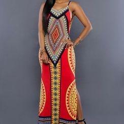 Flobo - Sleeveless Patterned Maxi Dress