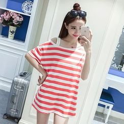 MayFair - Stripe Cold Shoulder Elbow-Sleeve Tunic