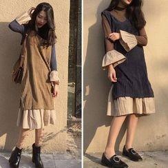 Glen Glam - 套装: 喇叭袖连衣裙 + 灯芯绒背心裙