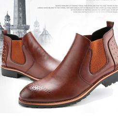 Preppy Boys - Genuine-Leather Cutout Studded Ankle Boots