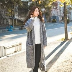 ERANZI - Hooded Dual-Pocket Long Cardigan