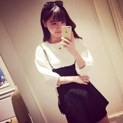 Dora - Set: 3/4-Sleeve Chiffon Blouse + High Waist Jumper Skirt