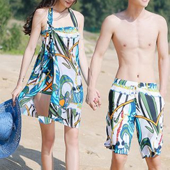 Roseate - Women Set: Print Bikini + Cover-Up / Men Print Swim Trunks