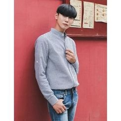 STYLEMAN - Mandarin-Collar Gingham Shirt (2 Designs)