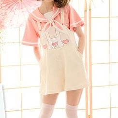 StaRainbow - Short-Sleeve Sailor Collar Shirt / Print Jumper Skort