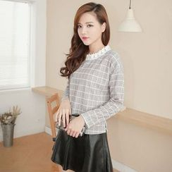 Tokyo Fashion - Lace Trim Long-Sleeve Check Top