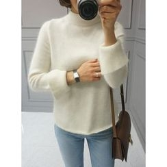STYLEBYYAM - Wool Blend Mock-Neck Knit Top