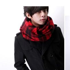 SeventyAge - Fringed Plaid Scarf