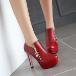 錦洋鞋業 - 仿皮拉鍊厚底高跟鞋