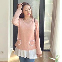 CLICK - Set: Pocket Front Sweater + Sleeveless Tunic