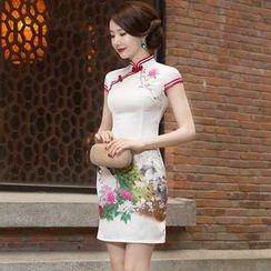 Miss Four Qipao - 盖袖孔雀印花旗袍