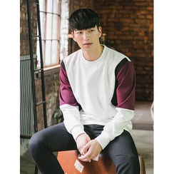 STYLEMAN - Color-Block Round-Neck T-Shirt