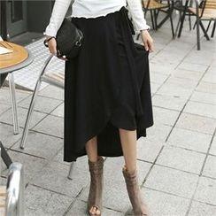CHICFOX - Band-Waist Long Wrap Skirt