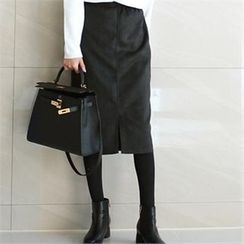 YOOM - Band-Waist Faux-Suede Pencil Skirt