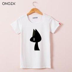 Onoza -  黑猫印花纯色圆领短袖 T 恤