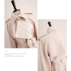 cherry spoon - Wool-Blend Trench Coat with Sash
