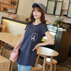 CLICK - Short-Sleeve Eiffel Tower Print T-Shirt