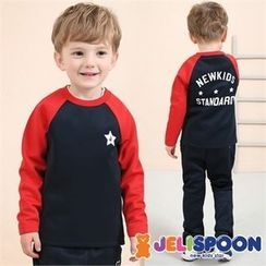 JELISPOON - Kids Set: Raglan-Sleeve Lettering T-Shirt + Sweatpants
