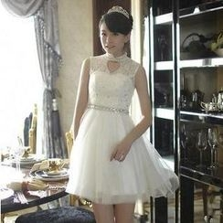 Fantasy Bride - Sleeveless Mandarin-Collar Lace A-Line Cocktail Dress