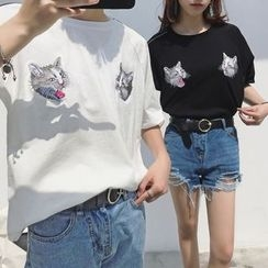 JUN.LEE - Couple Matching Cat Embroidered Elbow Sleeve T-Shirt
