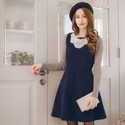 Tokyo Fashion - Embellished Lace Woolen Dress