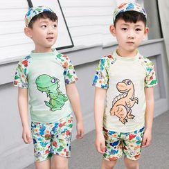Aqua Wave - Kids Set: Dinosaur Print Rashguard + Swim Shorts + Swim Cap