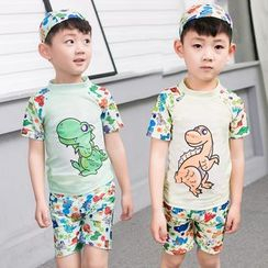 Aqua Wave - 兒童套裝: 恐龍印花防曬衣 + 游泳短褲 + 泳帽