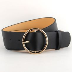 Goldenrod - Circle Buckle Faux Leather Belt