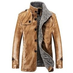 RUYA - Faux-Leather Fleece-Lined Buttoned Jacket