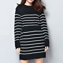Isadora - Set: Striped Sweater + Mini Knit Skirt